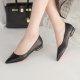 Women's Pointed Toe Gold Line Block Low Heel Pumps Shoes