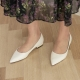 Women's White Pointed Toe Gold Line Block Low Heel Pumps Shoes