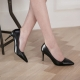 Women's Pointed Toe Black Stiletto High Heel Pumps Shoes