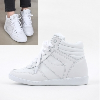 Women's White Hidden Wedge Insole Increase Height High Top Sneakers