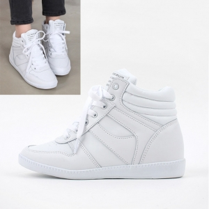 f120bb8c25b Women s White Hidden Wedge Insole Increase Height High Top Sneakers