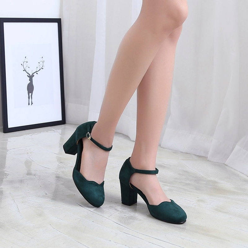 3ca36bed512 Women s Green Suede Round Toe Belt Strap Comfort Chunky Heel Pumps US5 -  US10