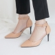 Women's Beige Pointed Toe Belt Strap High Heel Pumps