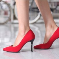 Women's Pointed Toe Stiletto High Heel Red Fabric Pumps US5 - US10