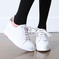 Women's White leather hidden wedge heels lace ups sneakers pink