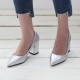 Women's Silver Pointed Toe Chunky Block Med Heel Pumps