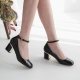 Women's Square Toe Hook Belt Strap Chunky Med Heels Mary Jane Pumps