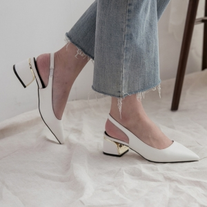 8c24149afdc http   what-is-fashion.com 5862-45319-. Previous. Women s White Pointy Toe  Comfort Chunky Heel Elastic Band Strap Slingback Pumps ...