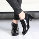 Women's Glossy Black Square Toe Comfy Chunky Block Med Heel Open Lacing Oxford Shoes