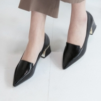 Women's Pointed Toe Comfort Chunky Heel Loafer Shoes