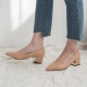 Women's Beige Pointed Toe Comfort Chunky Heel Loafer Shoes