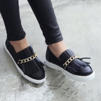 Women's Gold Metallic Chain Fringe Loafer Shoes