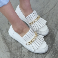 Women's Gold Metallic Chain Fringe White Loafer Shoes