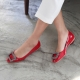 Women's Red Jewel Decoration Low Heel Pumps Shoes