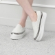 Women's White Thick Platform Slip On Loafer Sneakers