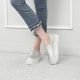 Women's Thick Platform Side Wrinkle Slip On Silver Loafer Sneakers shoes