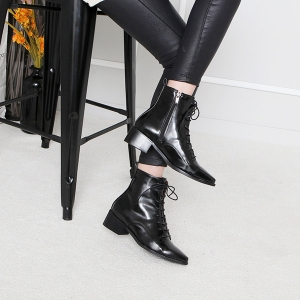 Flat Pointed Toe Low Heel Ankle Boots