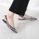 Women's Pointed Toe Polka Dot Belt Strap Block Low Heel Slingback Pumps Shoes