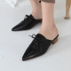 Women's Pointed Toe Lace Up Comfort Block Heel Oxford Slide Mule Shoes