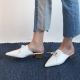 Women's White Pointed Toe Lace Up Comfort Block Heel Oxford Slide Mule Shoes