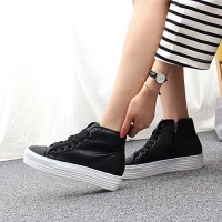 Women's Cap Toe Thick Platform Increase Height Hidden Wedge Insole High Top Shoes
