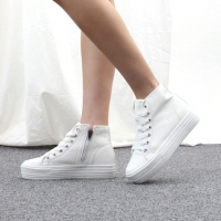 Women's White Cap Toe Thick Platform Increase Height Hidden Wedge Insole High Top Shoes