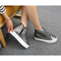 Women's Mercury Cap Toe Thick Platform Increase Height Hidden Wedge Insole High Top Shoes
