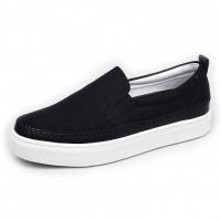 Men's White Platform Slip On Fabric Loafer Sneakers