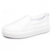 Men's White Platform Slip On Fabric white Loafer Sneakers