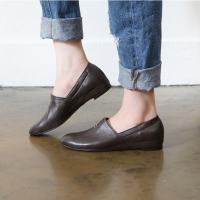 Women's Brown Leather Hand Made Loafer Shoes