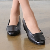 Women's Hand Made Black Leather Square Layer Loafer Shoes