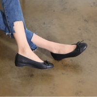 Women's Hand Made Black Scale Leather Ballet Flat Shoes