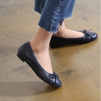 Women's Hand Made Navy Scale Leather Ballet Flat Shoes