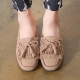 Women's Beige Double Layer Fringe Tassel Low Heel Loafer Shoes