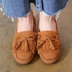 Women's Camel Double Layer Fringe Tassel Low Heel Loafer Shoes