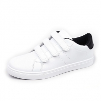Men's White Platform Triple Velcro Strap White Fashion Sneakers Shoes