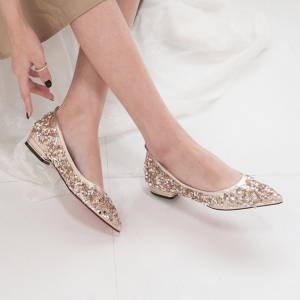 a77306b605a Women s Pointed Toe Glitter Gold Block Low Heel Shoes