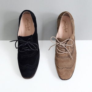 Women S Black Suede Wing Tip Brogue Lace Up Low Heel Dress Oxford Shoes