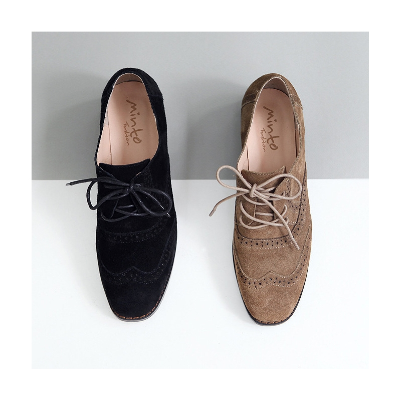Black Suede Wing Tip Brogue Lace Up