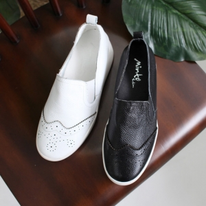 c7eeb5f5a11 Women s Black Leather Wing Tip Brogue Platform Loafer Shoes