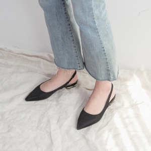 b83ae7662814 Women s Pointed Toe Glitter Black Block Heel Slingback Pumps Shoes Pointed  Toe