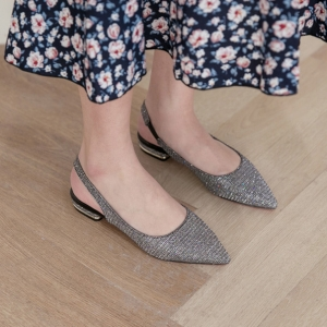 13ee2fa090b3 ... Women s Pointed Toe Glitter Silver Block Heel Slingback Pumps Shoes  Pointed Toe