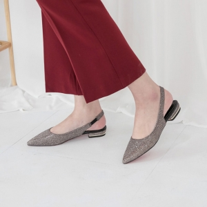 b8be84e6a4ff ... Women s Pointed Toe Glitter Beige Block Heel Slingback Pumps Shoes  Pointed Toe