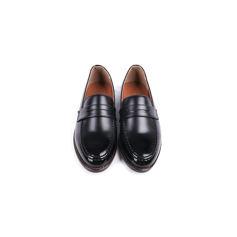 828d2aff146 Men s Apron Toe Formal Black Synthetic Leather Penny Loafers Dress Shoes