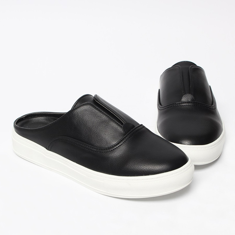 Men S Round Toe Black Slider Loafers Mules Shoes