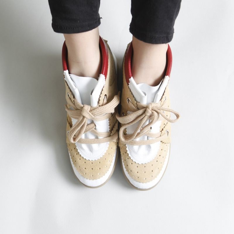 Women's Punching Wide Lace Up Hidden Wedge Insole White