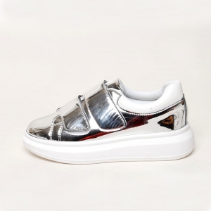 Women's Round Toe Double Strap Platform Wedge Heel Silver Synthetic Leather  Fashion Sneakers