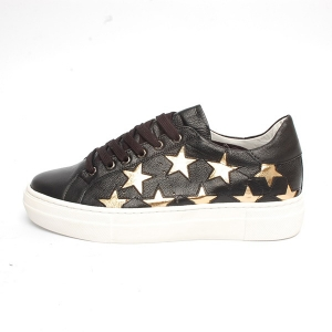 women s round toe gold star cut out lace up black leather low top