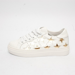 women s round toe gold star cut out lace up white leather low top