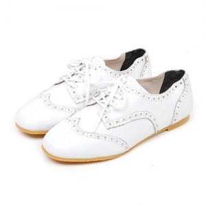 Womens Chic Genuine Leather Ankle Boots Flats Round Toe Oxfords Punk Shoes Boots
